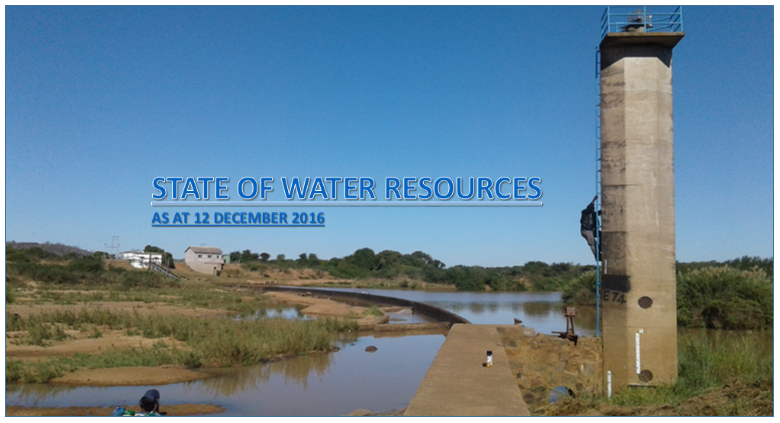 State of water resources as at 12 December 2016