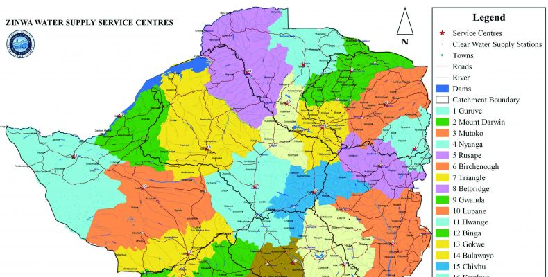 map of ZINWA Water Supply Centres